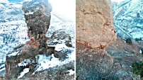 Gümüşhane-Erzincan karayolunda askıda kalan dev kayalar tehlike saçıyor!