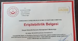 Gümüşhane'de 'Erişilebilirlik' belgesi ilk defa SGK İl Müdürlüğü'ne verildi