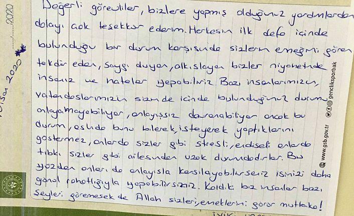 Karantinadaki vatandaşlardan görevlilere teşekkür mektubu