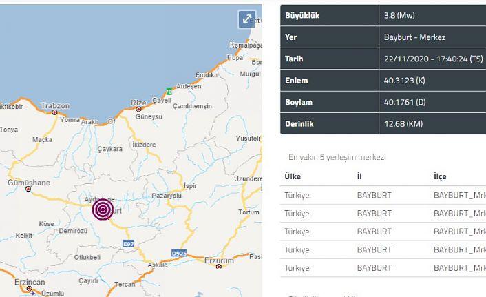 Bayburt'taki deprem Gümüşhane'den de hissedildi
