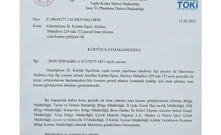 TOKİ Kürtün'de toplu konut yapacak