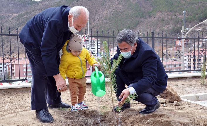 Gümüşhane Lisesi bahçesinde fidanlar toprakla buluştu