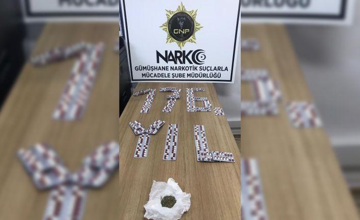 Gümüşhane'de 499 sentetik hap ve 10,87 gram bonzai ele geçirildi