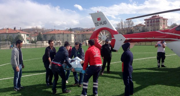 Ambulans helikopter Kelkit'ten havalandı