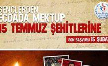 'Gençlerden Ecdada Mektup 15 Temmuz Şehitlerine' mektup yarışması