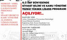 GÜ'de Siyaset Bilimi ve Kamu Yönetimi alanında tezsiz yüksek lisans olanağı