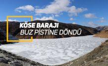 Gümüşhane'de soğuk hava baraj gölünün tamamını dondurdu