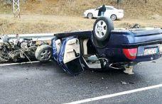Kayganlaşan yolda kontrolden çıkan otomobil takla attı: 5 yaralı