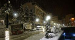 Gümüşhane'de kar yağışının ardından gece manzaraları