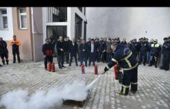 Gümüşhane Emniyetinde yangın eğitimi ve tatbikatı