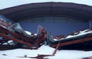 Çatısı çöken Şiran Fen Lisesi spor salonuna...