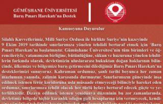 Gümüşhane Üniversitesi Senatosundan 'Barış...