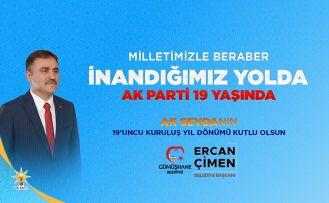 Başkan Çimen'den AK Parti'nin 19'uncu kuruluş yıldönümü kutlama mesajı