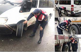 Jandarma'nın kış lastiği denetimi sürüyor