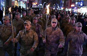 Gümüşhane'de eksi 5 derecede kurtuluş yürüyüşü