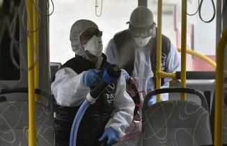 Gümüşhane'de toplu taşıma araçları dezenfekte ediliyor